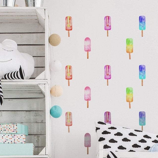 Funlife Popsicles Peel & Stick Wall Sticker Wall Decal, Removable Inside Stick On Wall Art (Image 8 of 20)
