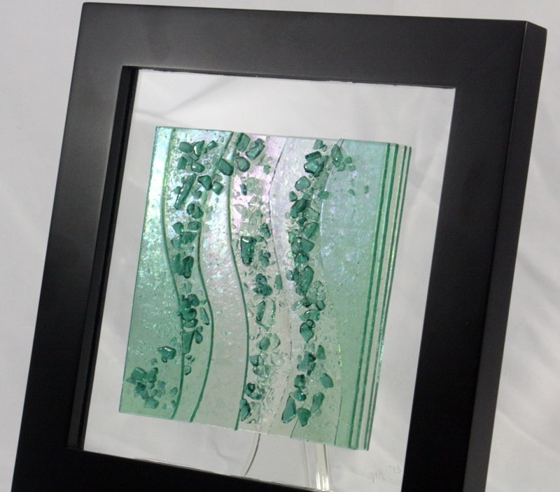 Fused Glass Wall Art Sea Glass Green, Sea Glass Wall Art – Swinki Intended For Sea Glass Wall Art (Image 3 of 10)