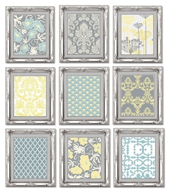 Gallery Wall Art Prints, Set Of 9, Gray, Blue And Yellow With Yellow Wall Art (Image 6 of 20)