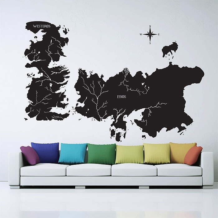 Game Of Thrones World Map Vinyl Wall Art Decal With Vinyl Wall Art World Map (Image 10 of 25)