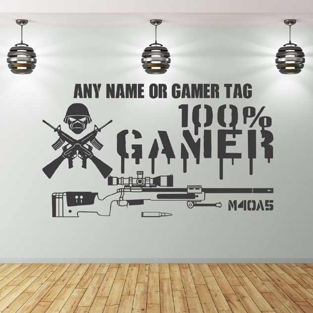 Gaming Wall Stickers Uk  100% Gamer With Wall Art Stickers (Image 6 of 10)