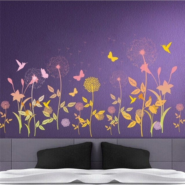 Garden Flower Butterfly Dandelion Wall Sticker Scenery Wall Decal Throughout Dandelion Wall Art (View 19 of 25)