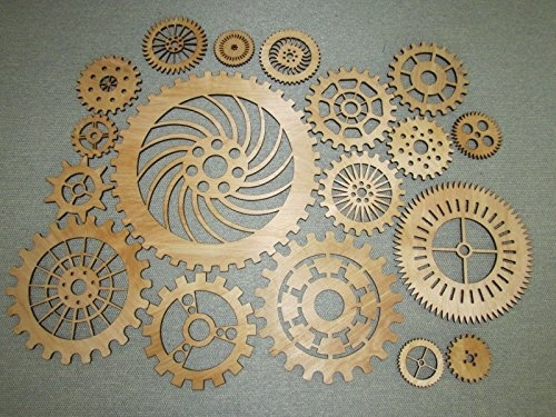 Gears Lot 2, 19 Various Size Wood Wooden Steampunk Wall Art Decor With Regard To Steampunk Wall Art (View 17 of 25)