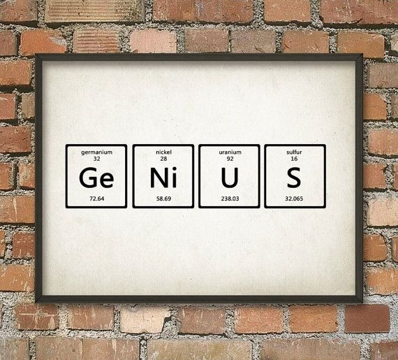 Genius Wall Art Poster – Periodic Table Of Elements Art – Scientific Throughout Periodic Table Wall Art (Image 2 of 20)