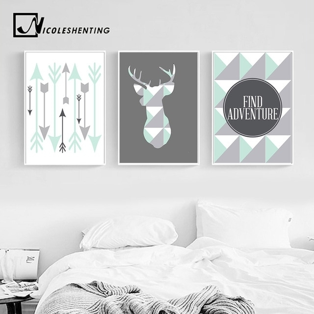 Geometric Deer Arrow Wall Art Canvas Posters Prints Nordic Style For Arrow Wall Art (Image 13 of 20)