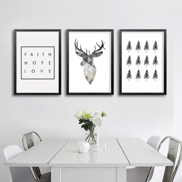 Geometric Deer Faith Quote Canvas Painting Nordic Poster Wall Art Inside Wall Art Prints (View 3 of 20)