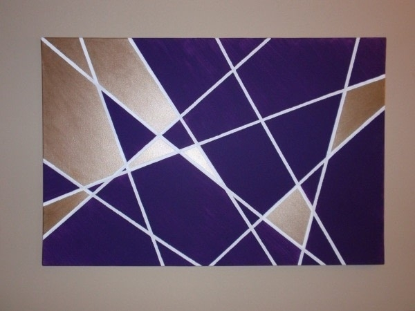 Geometric Wall Art Diy · How To Paint A Stencilled Painting · Art On Intended For Geometric Wall Art (View 4 of 20)