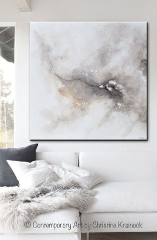 Giclee Print Art Abstract Grey White Painting Coastal Canvas Prints With Grey And White Wall Art (Image 8 of 25)