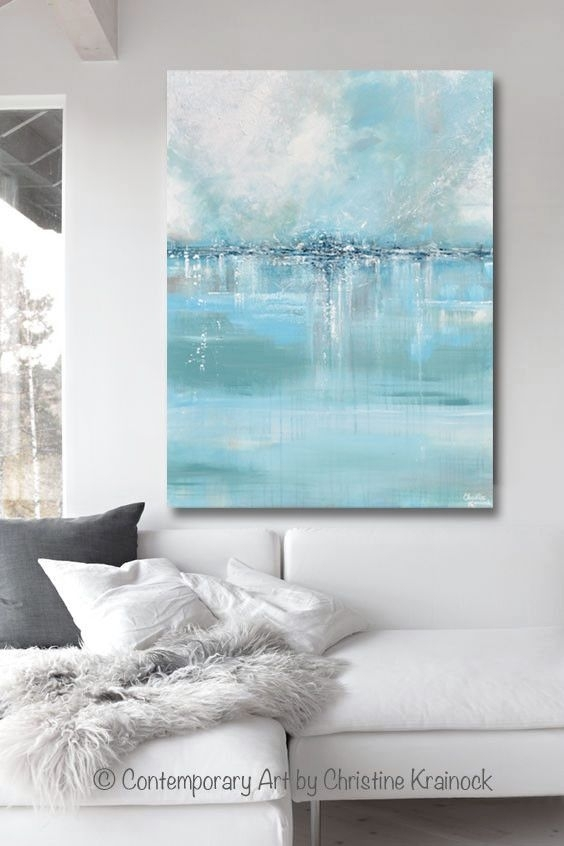 Giclee Print Art Abstract Painting Blue Sea Foam Green Grey White In Large Coastal Wall Art (Image 8 of 20)