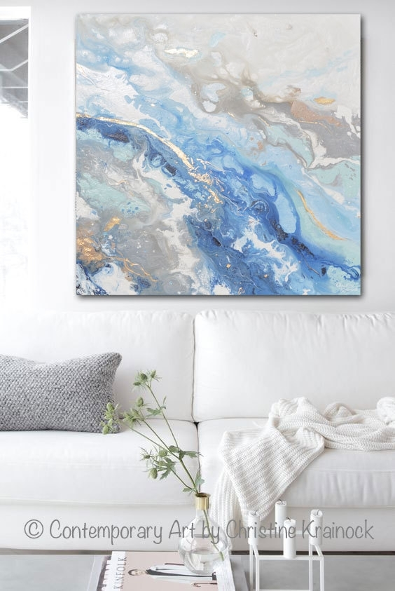 Giclee Print Large Art Abstract Painting Blue White Grey Acrylic Inside Large Coastal Wall Art (Image 9 of 20)