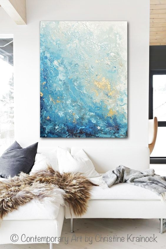 Giclee Print Large Art Abstract Painting Blue White Wall Art Home For Large Coastal Wall Art (Image 10 of 20)