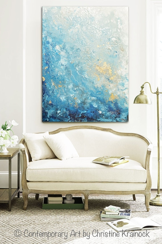 Giclee Print Large Art Abstract Painting Blue White Wall Art Home Pertaining To Large Coastal Wall Art (Image 11 of 20)