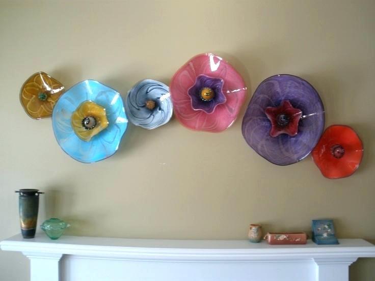 Glass Flower Wall Art Glass Blown Wall Art Contemporary Glass Art With Glass Plate Wall Art (View 19 of 20)