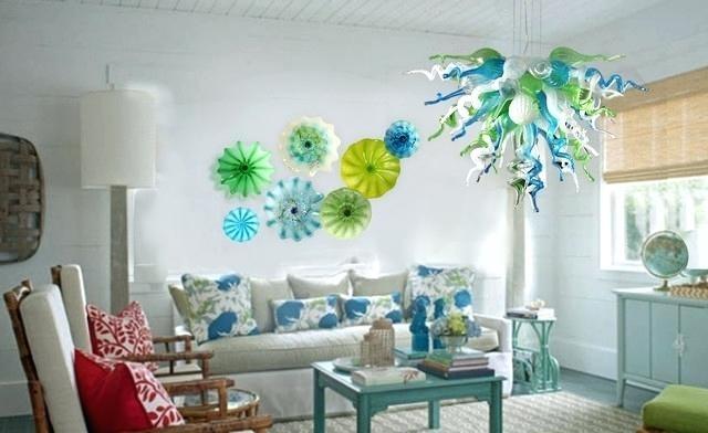 Glass Flower Wall Art Viz Art Glass Chandelier Wall Plate Combo Pertaining To Glass Plate Wall Art (View 3 of 20)