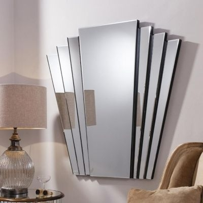 Glass Framed Art Deco Style Fan Mirror | Glass Framed Mirrors For Art Deco Wall Art (Photo 9 of 25)