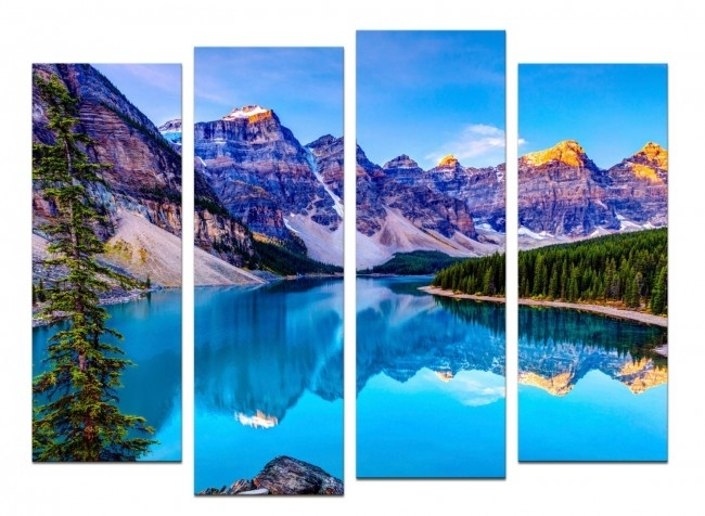 Glass Wall Art Acrylic – Set Mountain Lakeset Of 4 Pieces With Regard To Glass Wall Art (Image 7 of 10)