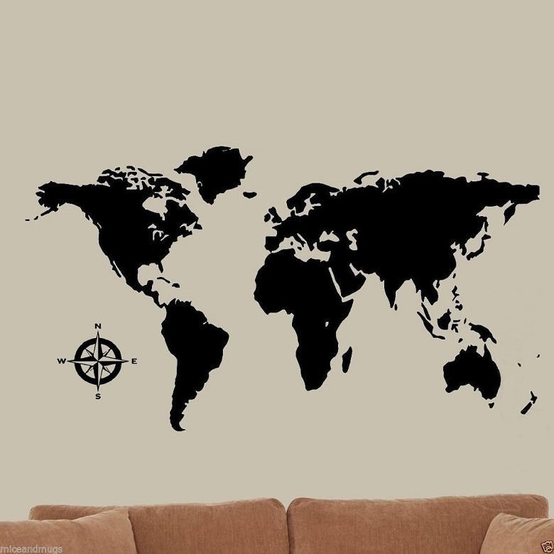 Global World Map Vinyl Wall Art Home Decor Black Wall Stickers Wall Throughout Wall Art World Map (Image 6 of 25)