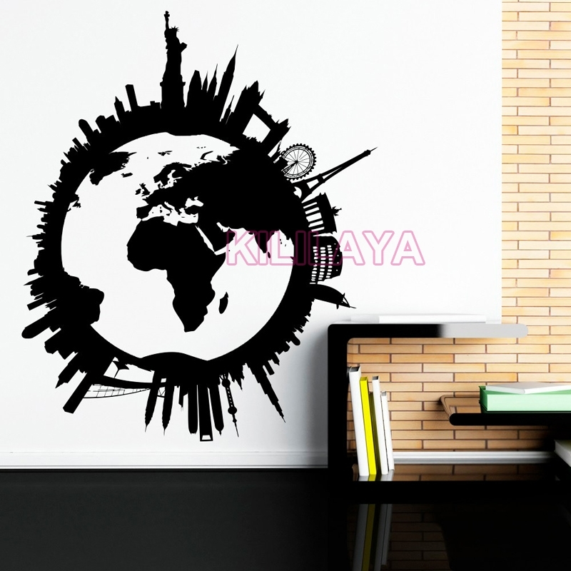 Global World Map Vinyl Wall Art Travel City Wall Stickers Wall Intended For Vinyl Wall Art World Map (Image 11 of 25)