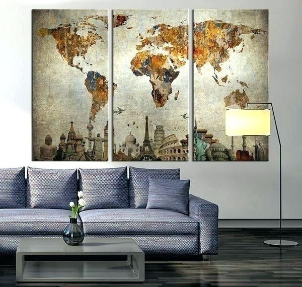 Globe Wall Art Globe Wall Art Map Wall Art Also 5 World Map Wall Art With Regard To World Map For Wall Art (Image 10 of 25)