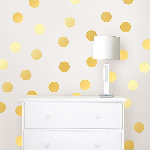Gold Confetti Dots – Wallpops Wall Decal Intended For Gold Foil Wall Art (Image 5 of 25)