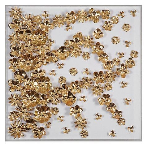 Gold Flora Foil Wall Art Pertaining To Gold Foil Wall Art (Image 6 of 25)