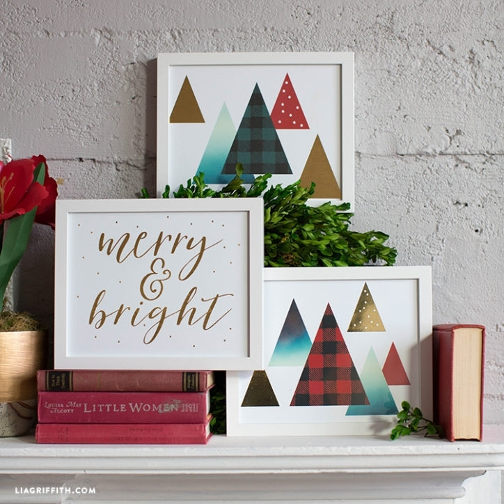 Gold Foil Christmas Wall Art – Lia Griffith Throughout Gold Foil Wall Art (Image 7 of 25)