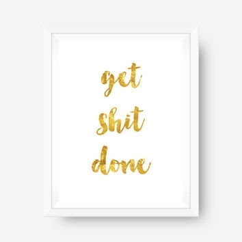 Gold Foil Print Inspirational Print Wall From Thesunshinestatus For Gold Foil Wall Art (Image 10 of 25)