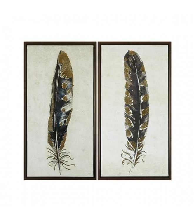 Gold Foiled Feathers Wall Art Set 2 Inside Feather Wall Art (Image 15 of 25)