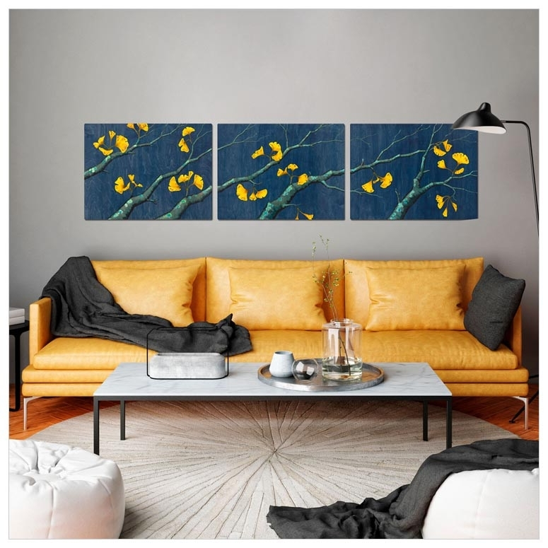 Gold Ginkgo Leaves Triptych, Nature Canvas Wall Art | Greenbox For Triptych Wall Art (Image 5 of 25)