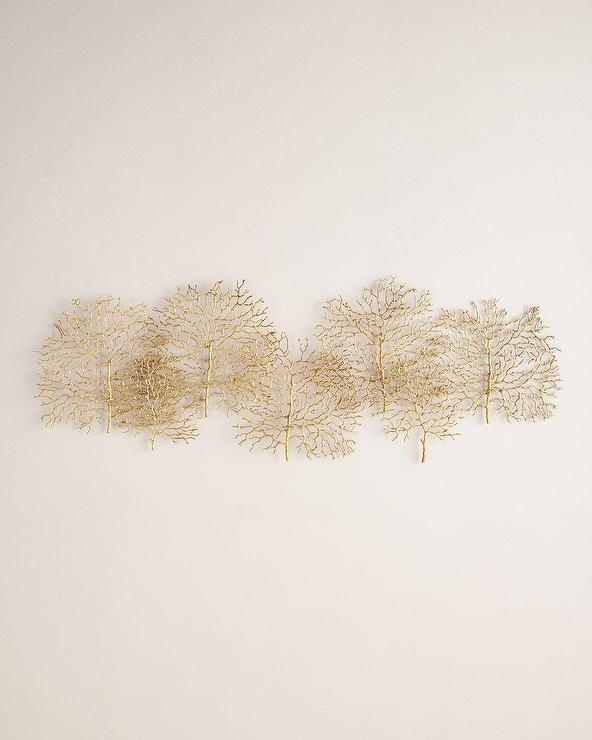 Gold Metal Branches Overlapping Wall Art Inside Gold Metal Wall Art (View 8 of 10)