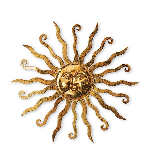 Gold Metal Sun Wall Hanging Art Plow Hearth Throughout Design 6 Within Gold Metal Wall Art (Image 4 of 10)