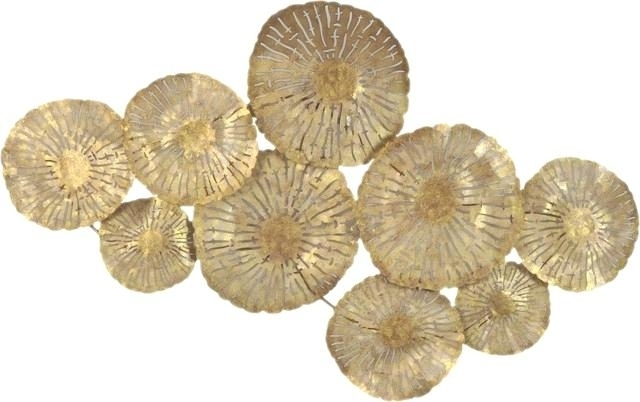 Gold Metal Wall Art Prepossessing Large Circles Wall Decor Gold For Gold Metal Wall Art (Image 7 of 10)