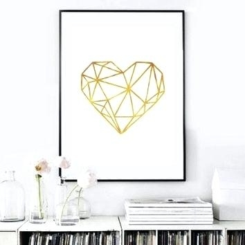 Gold Wall Art Real Gold Foil Print Heart Print Gold Foil Wall Art Throughout Gold Foil Wall Art (Image 16 of 25)