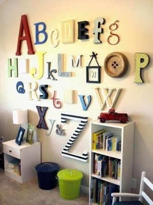 Good Idea: Wall Alphabet | Kids | Pinterest | Alphabet Wall Throughout Alphabet Wall Art (Image 14 of 25)