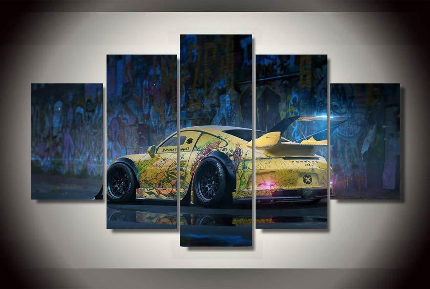 Graffiti Yellow Abstract Race Car Wall Art On Canvas Room Decoration Pertaining To Car Canvas Wall Art (View 10 of 25)