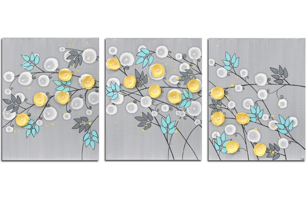 Gray And Yellow Wall Art Painting Of Flowers On Canvas – Large Pertaining To Yellow Wall Art (View 1 of 20)
