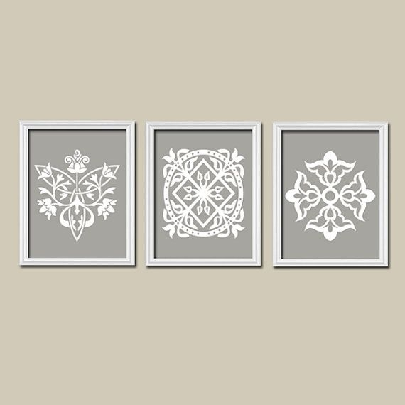 Gray Bedroom Wall Decor, Canvas Or Prints, White Gray Bathroom Decor For Grey And White Wall Art (Image 10 of 25)