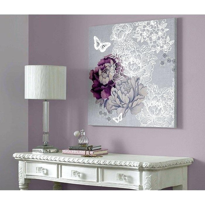 Gray Canvas Art Blue Wall Art Abstract Painting Canvas Art Print Within Purple And Grey Wall Art (View 14 of 25)