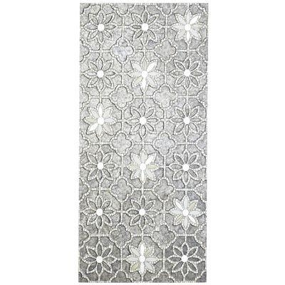 Gray Mosaic Flowers Wall Panel Throughout Mirror Mosaic Wall Art (Image 13 of 25)