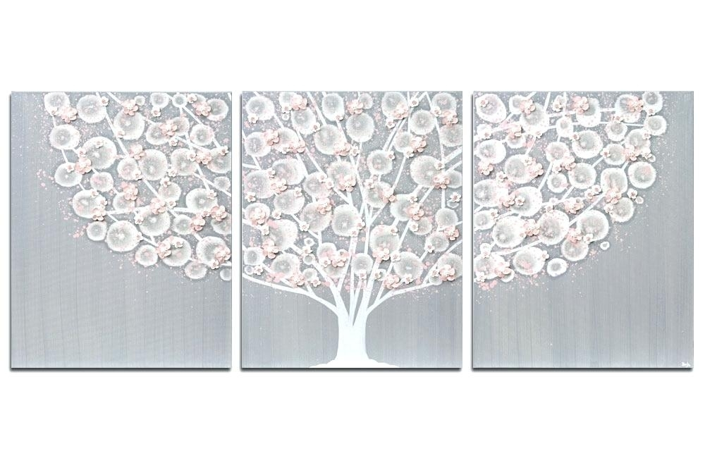 Gray Wall Art Gray And Pink Tree Canvas Art For Girl Nursery Large Intended For Grey And White Wall Art (View 11 of 25)