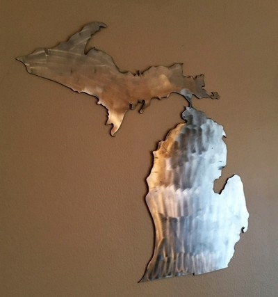 Great Lakes Design – Wood & Metal Art – Great Lakes Design Within Michigan Wall Art (Image 4 of 25)