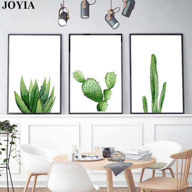 Green Cactus Wall Art Picture Home Decoration Modern Watercolor In Cactus Wall Art (Image 11 of 20)