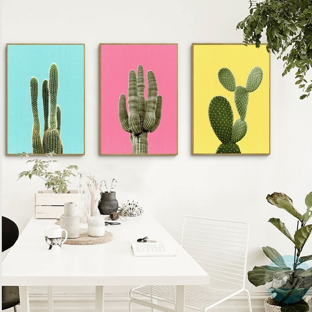 Green Plant Cactus Canvas Art Print Poster Still Life Cactus Wall Within Cactus Wall Art (Image 12 of 20)