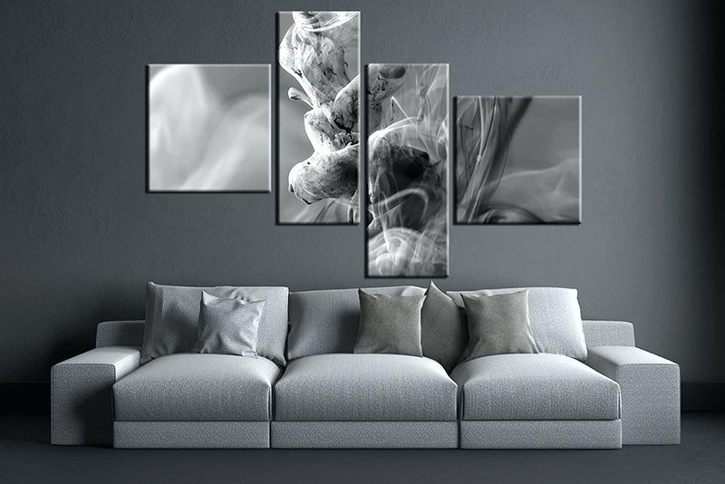 Grey And White Wall Art 4 Piece Huge Pictures Living Room Multi With Grey And White Wall Art (View 18 of 25)