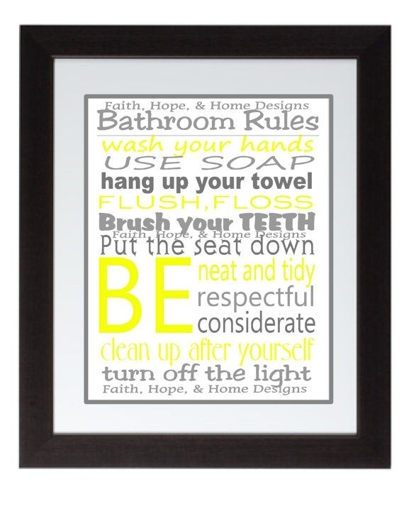 Grey And Yellow Bathroom Rules Wall Art Poster 8X10 Digital Art Intended For Bathroom Rules Wall Art (View 10 of 25)