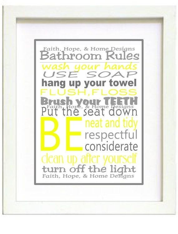 Grey And Yellow Bathroom Rules Wall Art Posterfaithhopenhome Pertaining To Bathroom Rules Wall Art (Image 21 of 25)