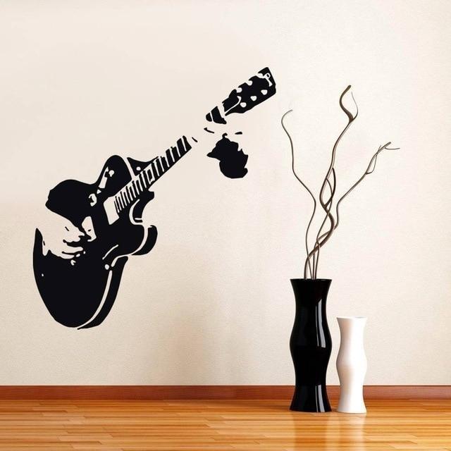 Guitar Guitarist Music Wall Stickers Decor Mural Art Decals Home Throughout Music Wall Art (View 8 of 10)