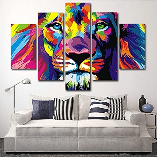 H.cozy 5 Piece Free Shipping Original Animal Oil Painting Pictures regarding 5 Piece Wall Art Canvas
