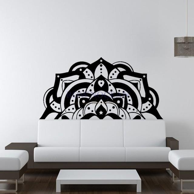 Half Mandala Wall Decals Sticker Fashion Bedroom Decor Boho Bohemian With Mandala Wall Art (Image 4 of 25)