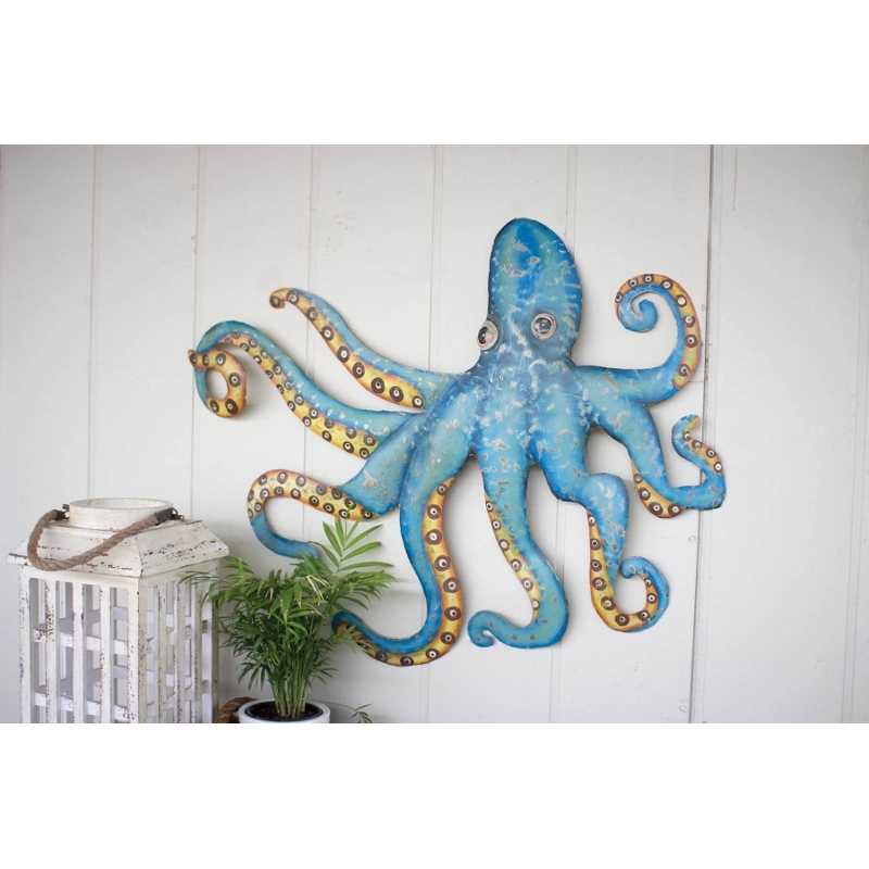 Hammered Recycled Metal Octopus Wall Hanging With Regard To Octopus Wall Art (View 2 of 20)